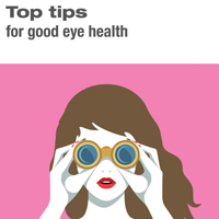 Picture of front of leaflet saying Top Tips for good eye health