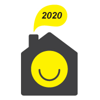 Sheffield Stays In logo. A little house with 2020 coming out of the chimney