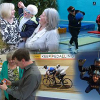 Photo montage of people doing different activities with SRSB