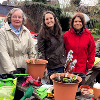 Photographs of OT student with our Gardening Group