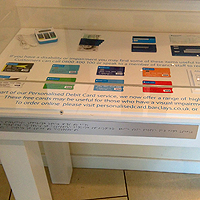 Photograph of Barclays display of accessible information in the Pinstone Street branch