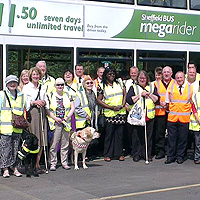 Photograph of SRSB clients and Stagecoach staff