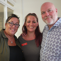 Photograph of Kevin with new Manager Helen and Deputy Manager Sadie