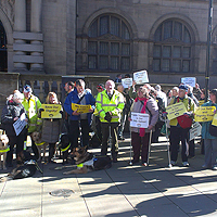 Photograph of protesters outside the Sheffield Town Hall