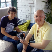 Photograph of Graham interviewing Alex from Tramlines