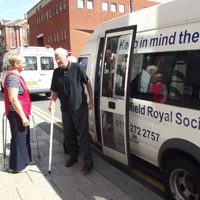 Photograph of SRSB minibus dropping off a client at the Mappin Street Centre