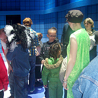 Photo of young clients enjoying touch tour at pantomime