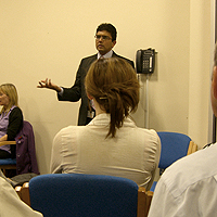 Photograph of speaker at RP Group meeting at SRSB