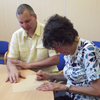 Photograph of SRSB client receiving braille training