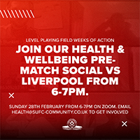Image is a graphic that says Join our health and wellbeing pre-match social vs Liverpool from 6 to 7pm Sunday 28th February 6 to 7pm on Zoom