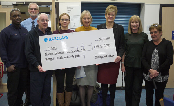 Photograph of cheque presentation by Barclays and Gripple