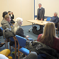 Photo of Lord Blunkett speaking at the Job Club
