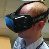 Photograph of person wearing VR technology
